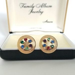 Vintage gold plated cufflinks with Rhinestones